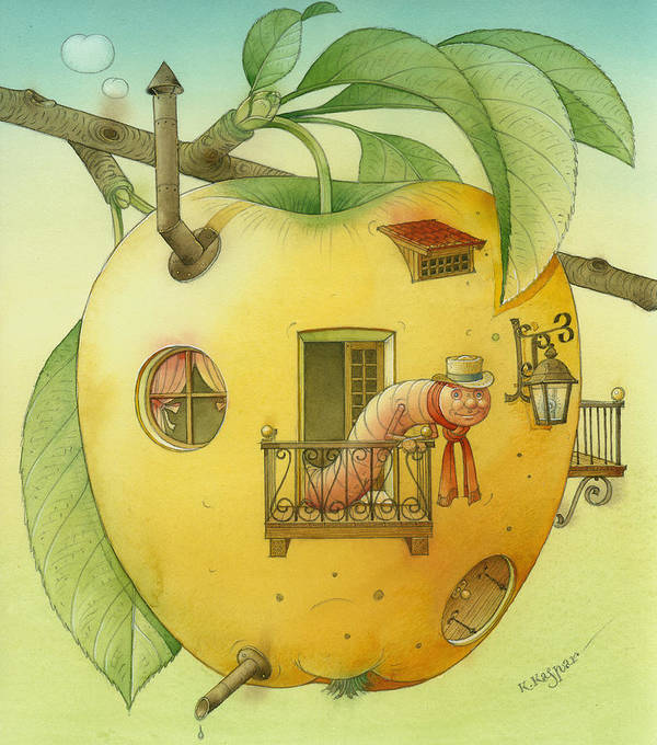 Landscape Apple Autumn Nature Illustration Yellow Home Art Print featuring the painting New House by Kestutis Kasparavicius