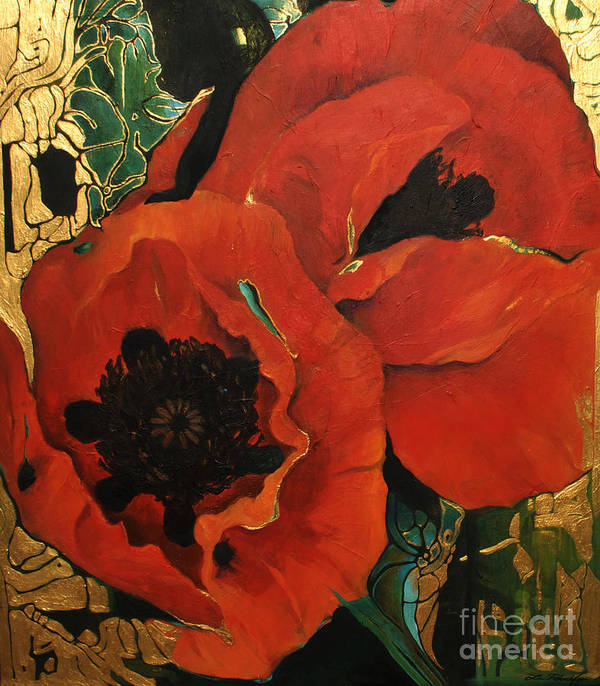Lin Petershagen Art Print featuring the painting Poppygold by Lin Petershagen