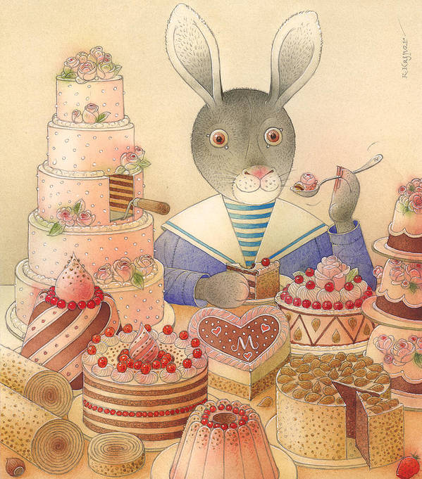 Food Rabbit Animal Rose Delicious Art Print featuring the painting Rabbit Marcus The Great 01 by Kestutis Kasparavicius