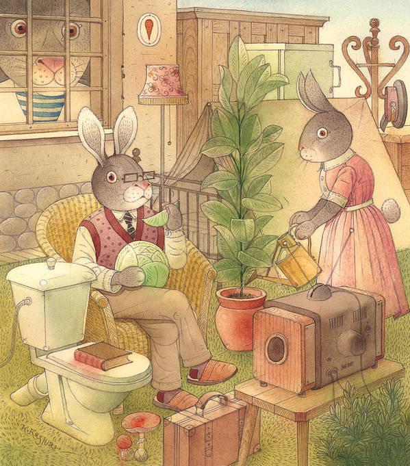 Rabbit Animal Illustration Summer Garden Art Print featuring the painting Rabbit Marcus The Great 02 by Kestutis Kasparavicius