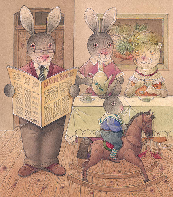 Rabbit Cat Animal Evening Dinner Home Art Print featuring the painting Rabbit Marcus The Great 09 by Kestutis Kasparavicius