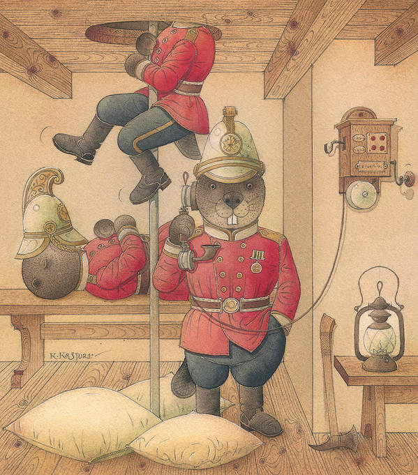 Fireman Beaver Animak Art Print featuring the painting Rabbit Marcus The Great 14 by Kestutis Kasparavicius