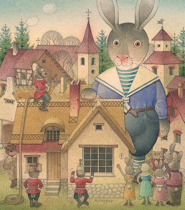 Art Print featuring the painting Rabbit Marcus The Great 16 by Kestutis Kasparavicius
