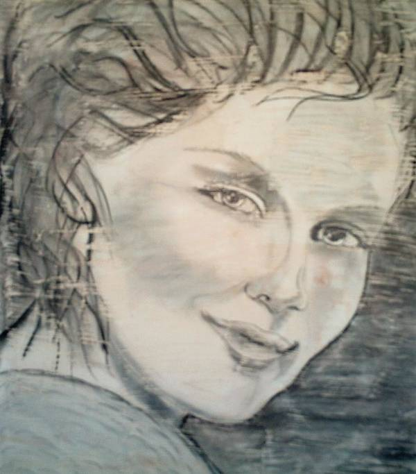 Woman Art Print featuring the drawing Savannah Smiles Again by J Bauer