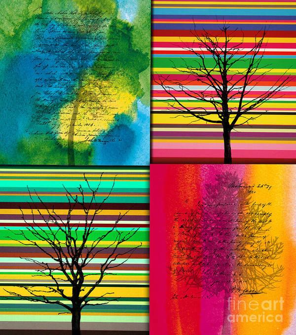 Action Art Print featuring the painting Seasons by Ramneek Narang