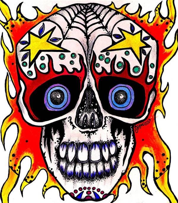 Skull Art Print featuring the painting Skull by Sam Hane
