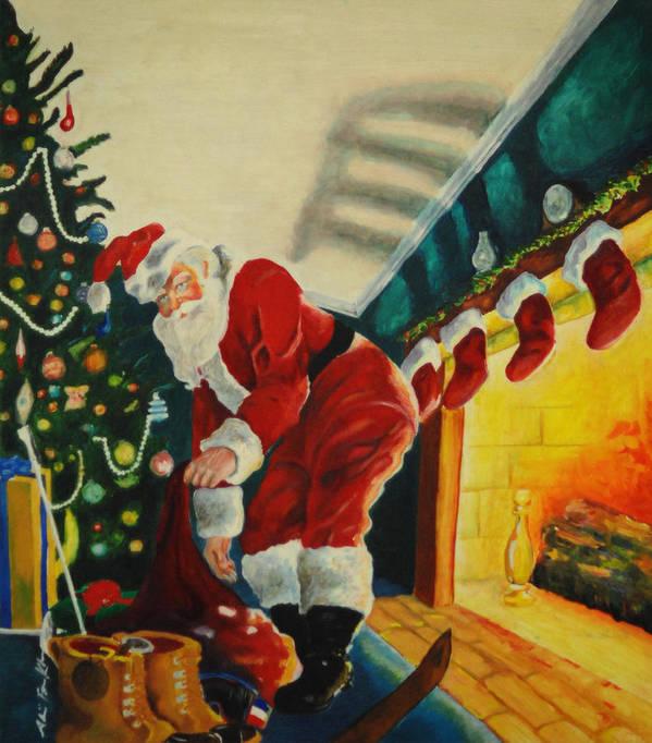 Santa Art Print featuring the painting Surprising Santa by Alicia Frese Klenk