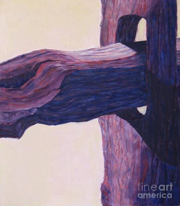 A Monochromatic Study Of A Wooden Fencepost Art Print featuring the painting The Fencepost by Judith Espinoza