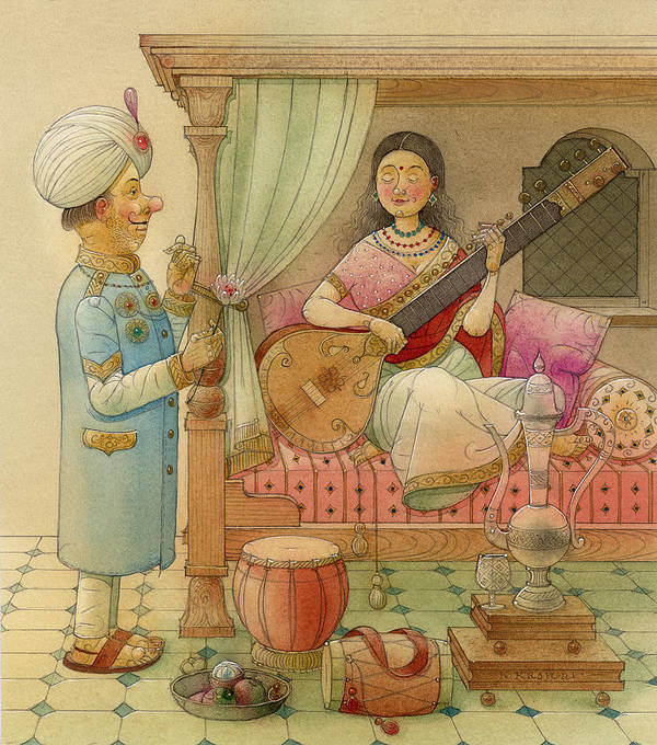 King Queen Palace Love Happiness Fortune Evening Music Sitar Bedroom India Art Print featuring the painting The White Elephant 08 by Kestutis Kasparavicius