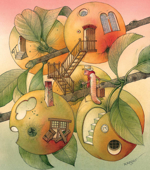 Worm Autumn Apple Garden Home Tree Evening Art Print featuring the painting Trawelling Worm by Kestutis Kasparavicius