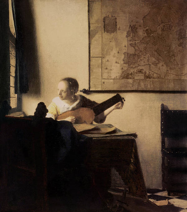 Woman With A Lute Art Print featuring the painting Woman With A Lute by Jan Vermeer