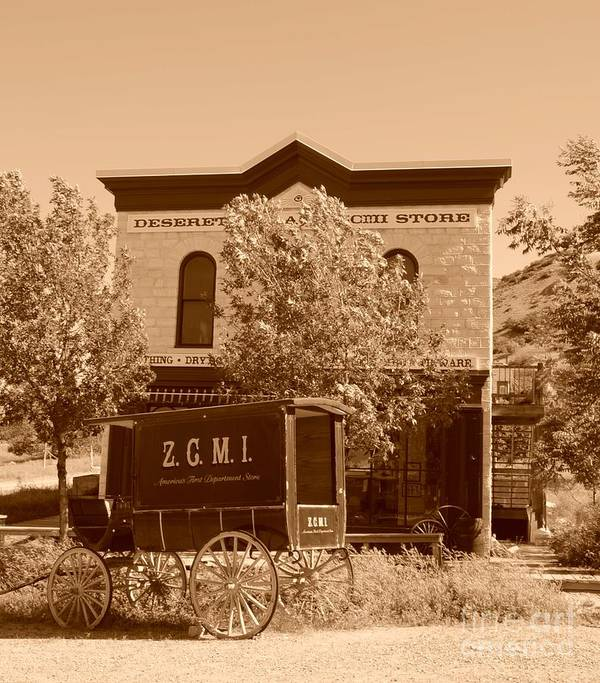Sepia Art Print featuring the photograph Zcmi Store And Delivery Wagon by Dennis Hammer