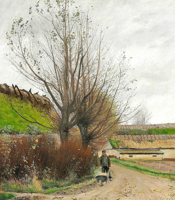 19th Century Art Art Print featuring the painting Autumn Weather. A Man With A Wheelbarrow On A Path by Laurits Andersen Ring