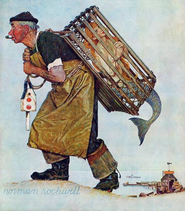 Lobsterman Art Print featuring the drawing Mermaid by Norman Rockwell