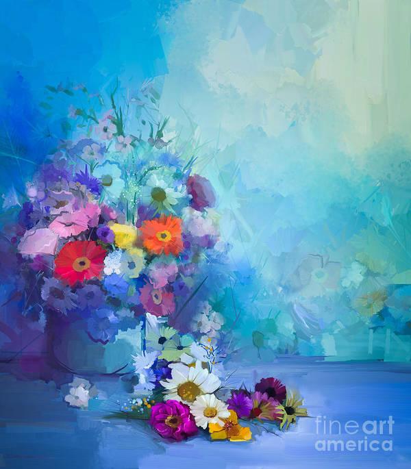 Flora Art Print featuring the digital art Oil Painting Flowers In Vase. Hand by Pluie r