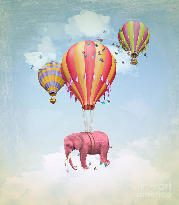 Magic Art Print featuring the digital art Pink Elephant In The Sky With Balloons by Ganna Demchenko