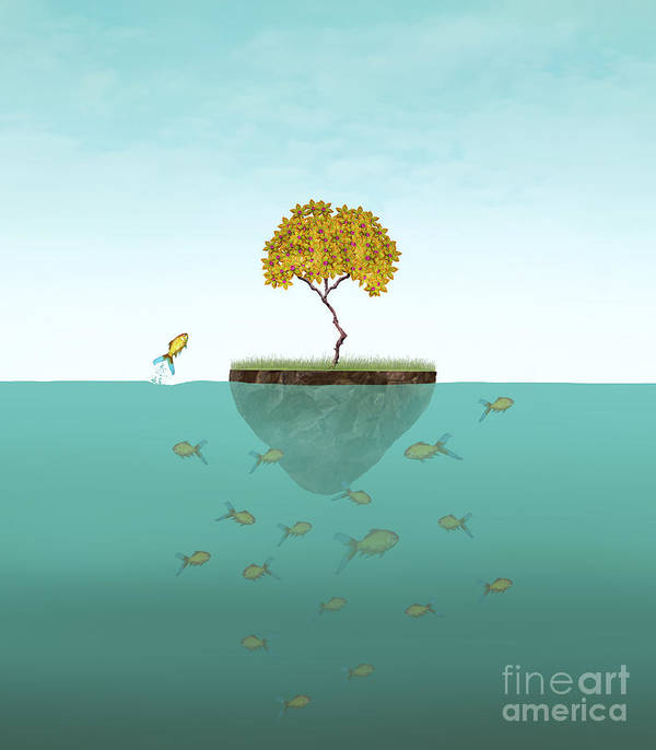 Small Art Print featuring the digital art Surreal Illustration Of A Little Island by Valentina Photos