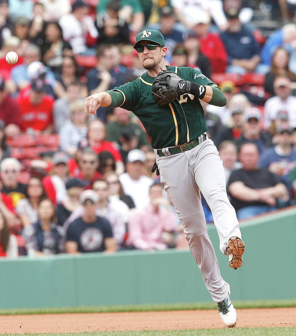 American League Baseball Art Print featuring the photograph Jed Lowrie by Jim Rogash