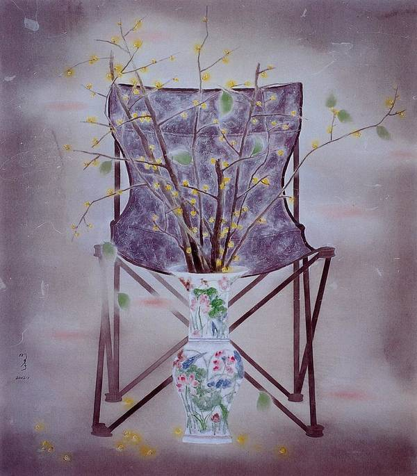Flowers Painting Art Print featuring the painting Flowers In Vase-tranquility by Minxiao Liu