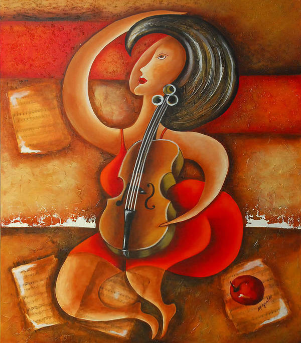Abstract Expressionism Art Print featuring the painting A Woman And Her Violin by Marta Giraldo