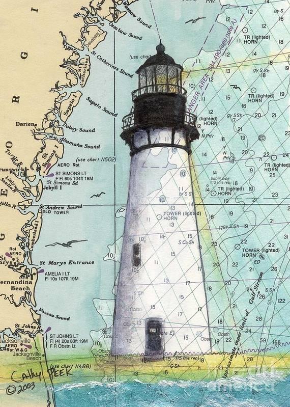 Amelia Island Lighthouse Fl Nautical Chart Art Cathy Peek Art Print