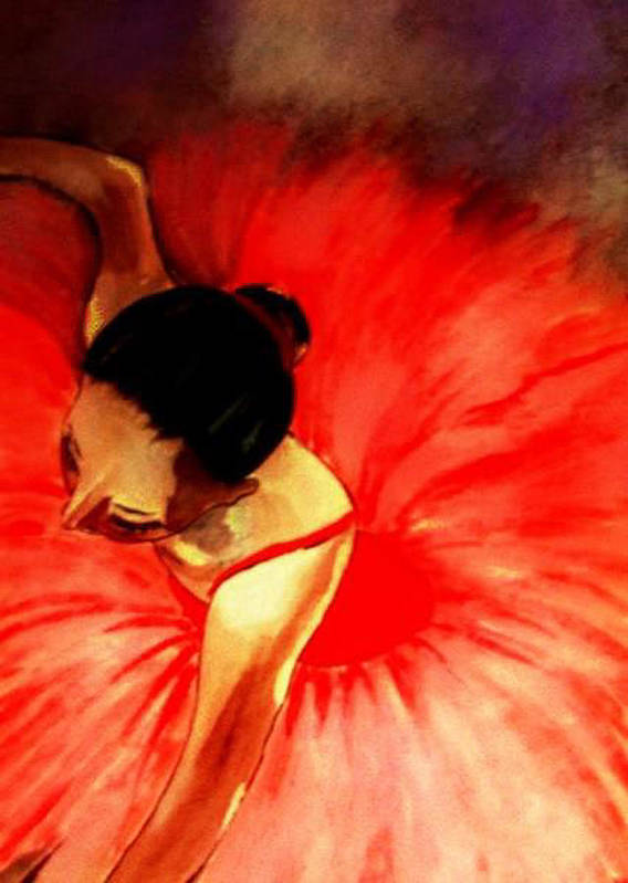 Ballerinas Art Print featuring the painting La Ballerine Rouge Dans Le Theatre by Rusty Woodward Gladdish