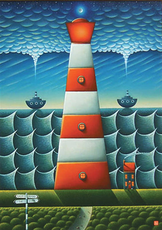Lighthouse Art Print featuring the painting Calm Before The Storm by Connor Maguire