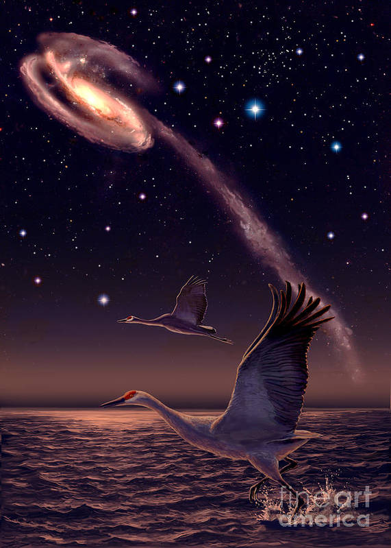 Astronomy Art Print featuring the painting Galactic Migration by James Hervat
