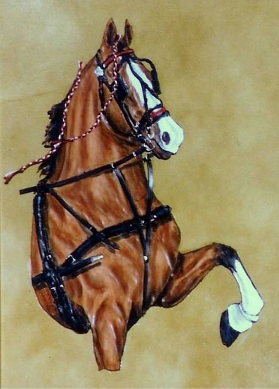 Horses Art Print featuring the painting Hackney by Lilly King