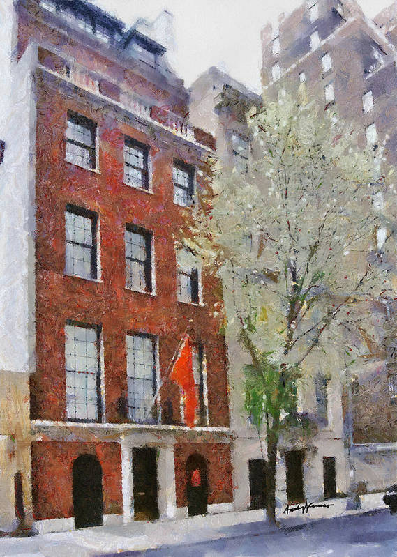 Cityscape Art Print featuring the painting Lubin House by Anthony Caruso