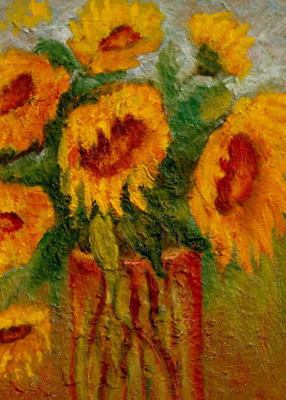 Flowers/sunflower/bouquet Art Print featuring the painting My Sunshine by Marie Hamby