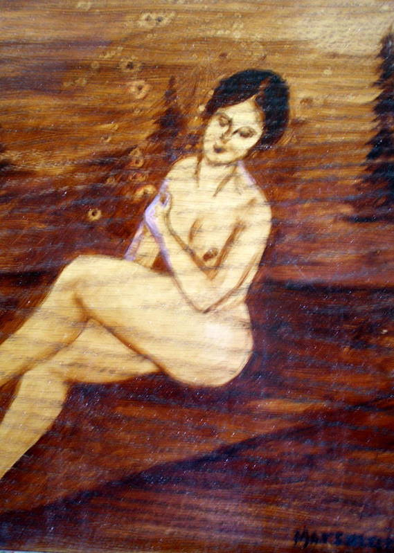 Nude Woman Art Print featuring the painting Nude In The Woods by Lia Marsman