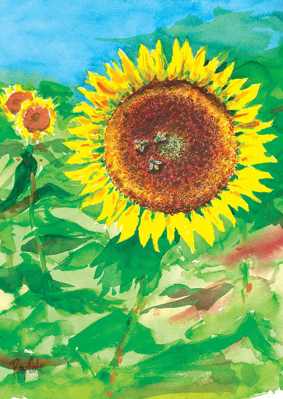 Sunflowers Art Print featuring the painting Sunflowers by Ray Cole