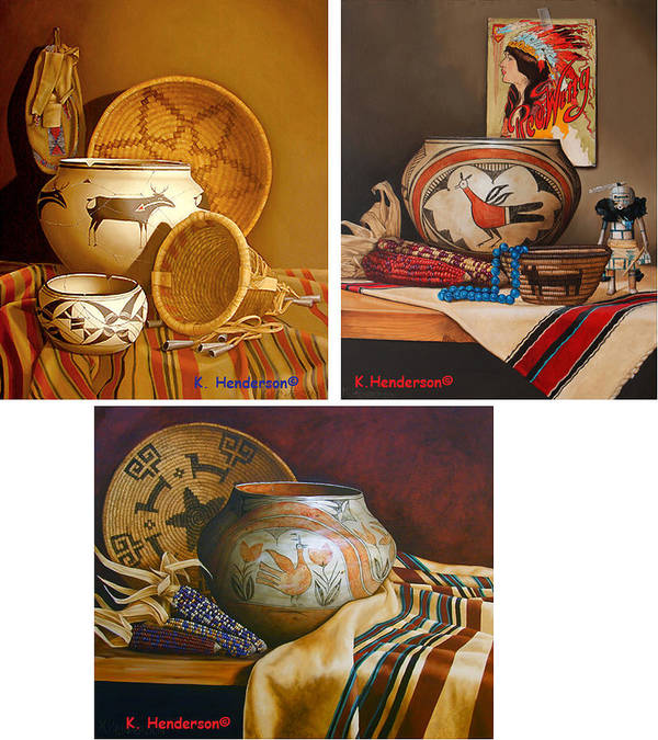 American Indian Art Print featuring the painting American Indian Pottery By K Henderson by K Henderson