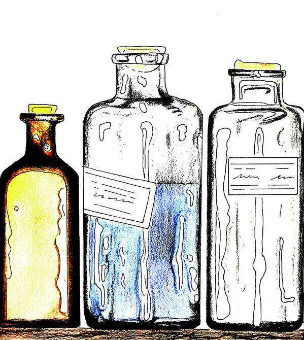 Ink Art Print featuring the drawing Apothecary by Mary Bedy