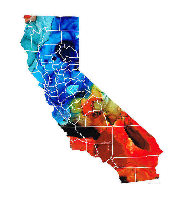 California Art Print featuring the painting California - Map Counties By Sharon Cummings by Sharon Cummings