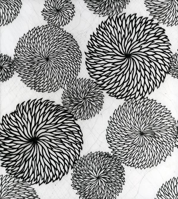 Chrysanthemum Art Print featuring the tapestry - textile Chrysanthemums by Japanese School