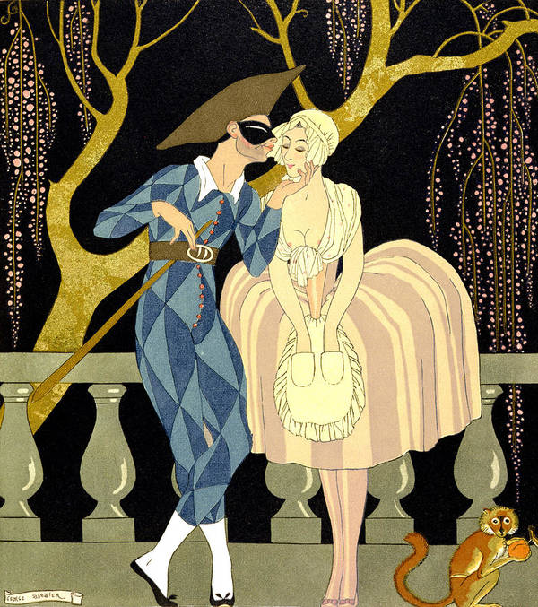 Harlequin Art Print featuring the painting Harlequin's Kiss by Georges Barbier