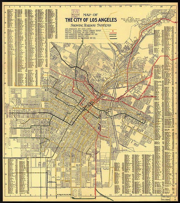 picture about Printable Map of Los Angeles identify Los Angeles Rail Approach Map 1906 Artwork Print