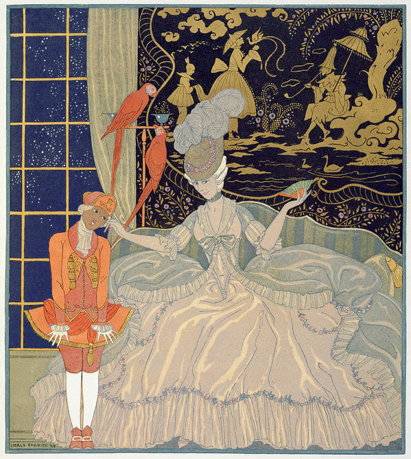 Negro Print featuring the painting Punishing The Page by Georges Barbier