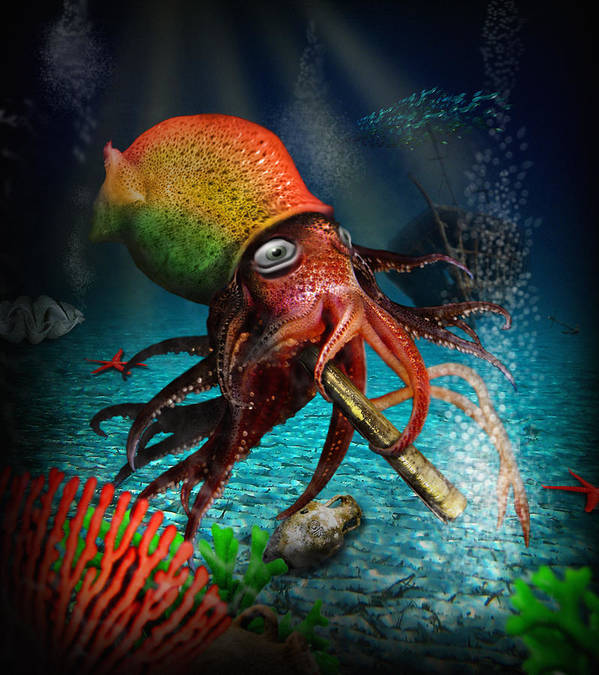 Rasta Art Print featuring the digital art Rasta Squid by Alessandro Della Pietra