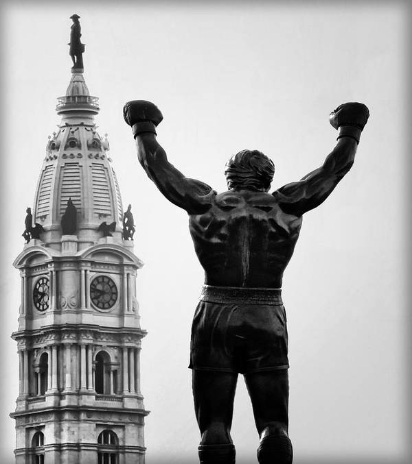 Rocky Art Print featuring the photograph Rocky And Philadelphia by Bill Cannon