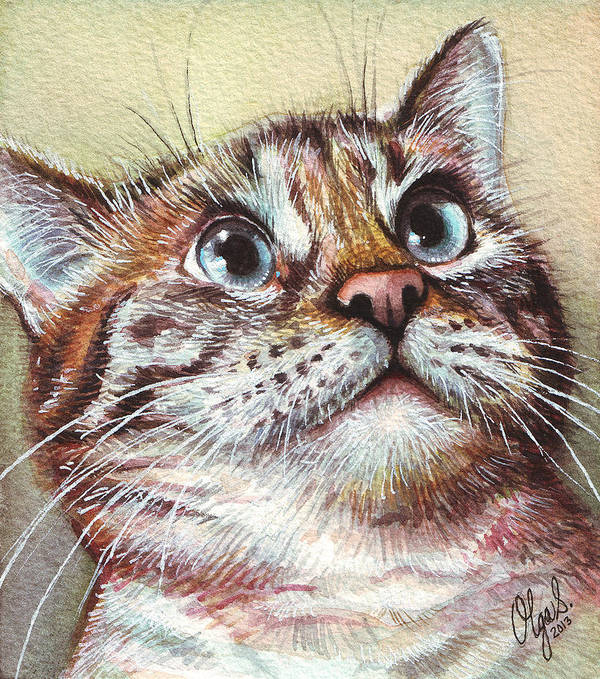 Kitty Print featuring the painting Surprised Kitty by Olga Shvartsur
