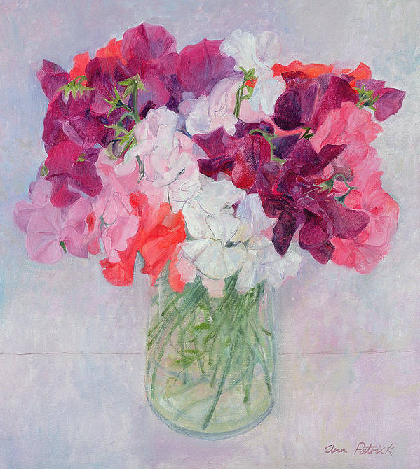 Pea Art Print featuring the painting Sweet Peas by Ann Patrick