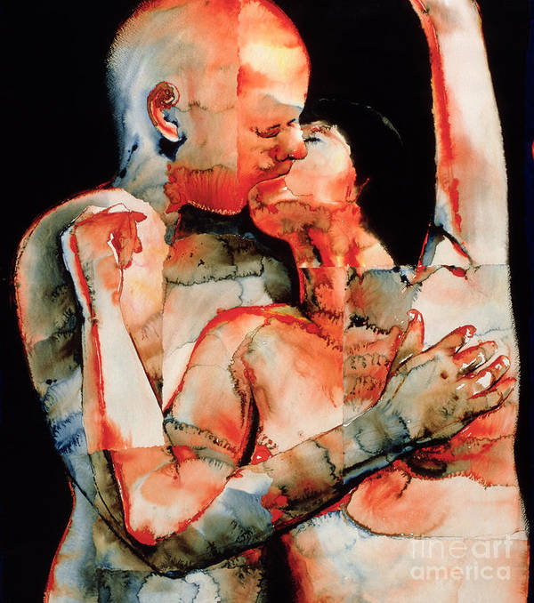 Kissing; Love; Lovers; Lover; Romance; Intimacy; Intimate; Couple; French; Erotic; Snog; Passionate; Atmospheric; Psychedelic; Passion; Lust Art Print featuring the painting The Kiss by Graham Dean