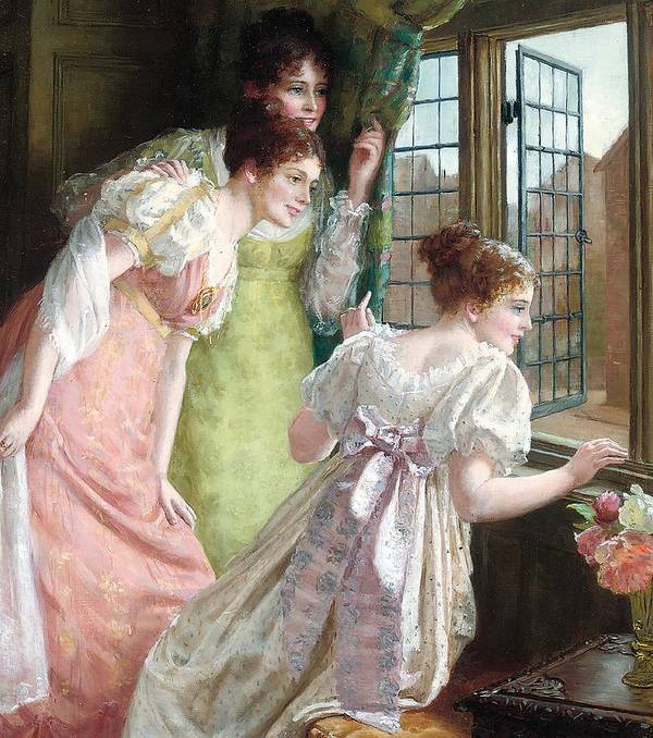 The Squires Arrival; Arrival; Squire; Suitor; Suitors; Courtship; Society Life; Female; Romance; Romantic; Excited; Excitement; Young; Girl; Girls; Regency; Georgian; 18th; Interior; Domestic; Window; Anticipation; The Future; Optimism; Youth; Waiting; Eager; Emotion; Emotions Art Print featuring the painting The Squire S Arrival by Mary E Harding