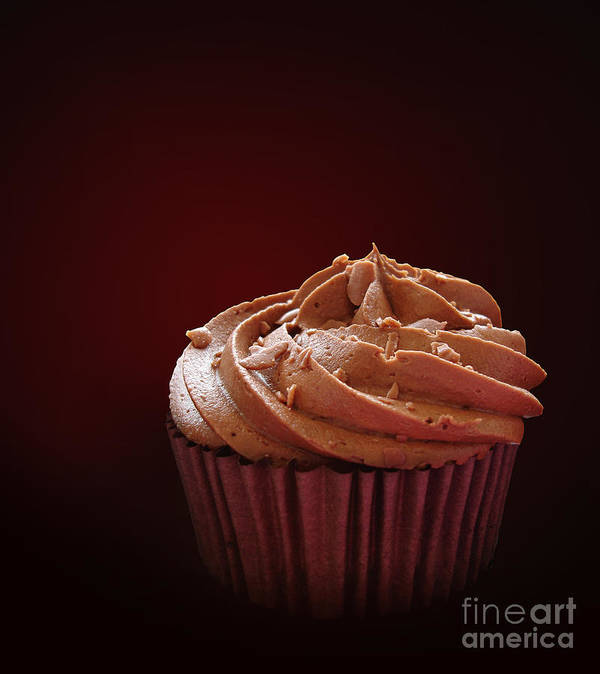Background Print featuring the photograph Chocolate Cupcake Isolated by Jane Rix