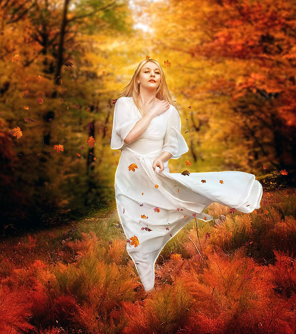Fall Print featuring the digital art Path Of Fall by Mary Hood