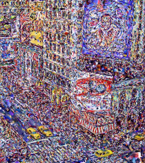 Nyc Print featuring the digital art Times Square by Marilyn Sholin