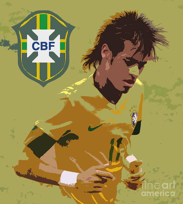 Lee Dos Santos Art Print featuring the photograph Neymar Art Deco by Lee Dos Santos